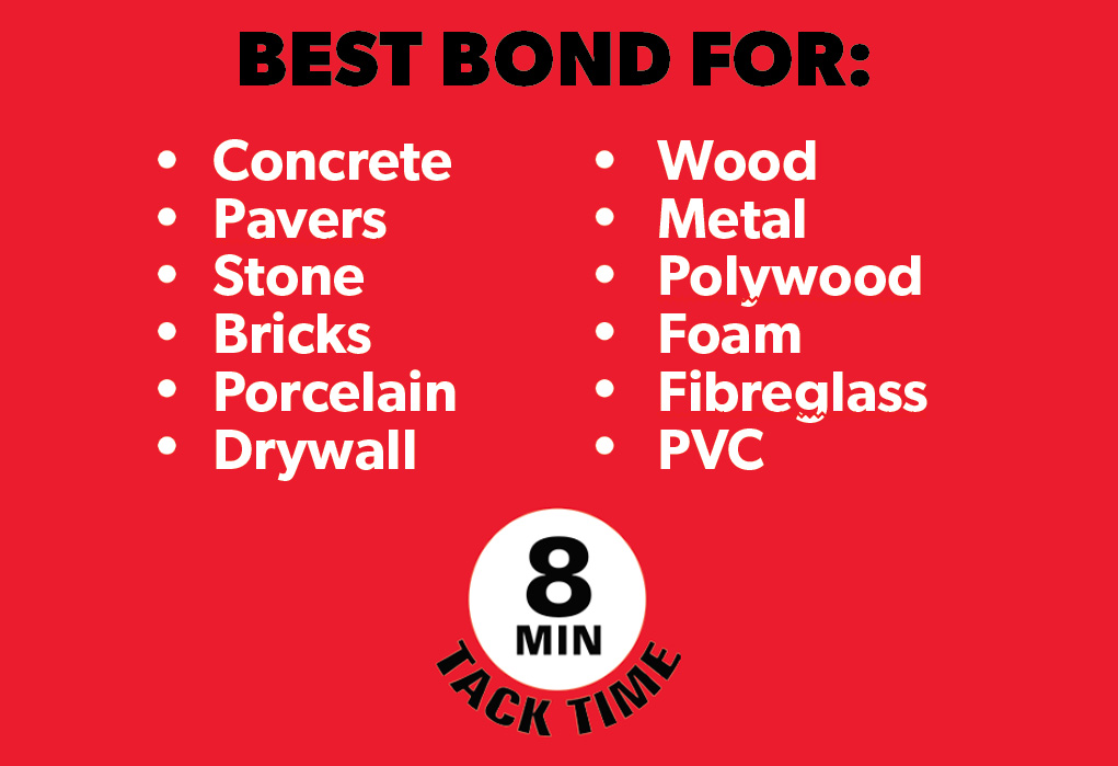 Stronghold Adhesive: Concrete, Pavers, Stone, Bricks, Porcelain, Drywall, Wood, Metal, Polywood, Foam, Fibreglass, PVC