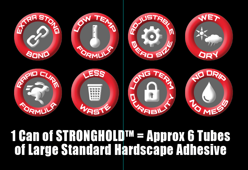 1 Can of STRONGHOLD™ = Approx 6 Large Tubes of Standard Hardscape Adhesive.